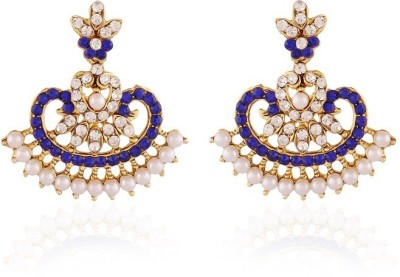 Rich Lady Mahi Pearl Blue Gold Plated Alloy Chandelier Earring