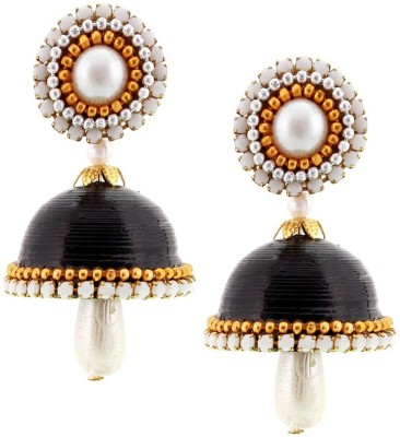 Halowishes Handmade Single Stud Black Jhumka Paper Drop Earring  available at flipkart for Rs.289