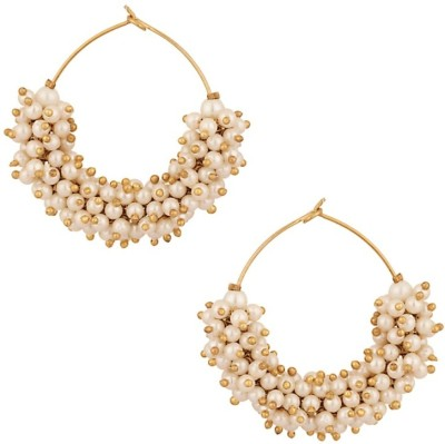 Jewels Capital Diva Style Pearl Alloy Hoop Earring Jewels Capital Earrings