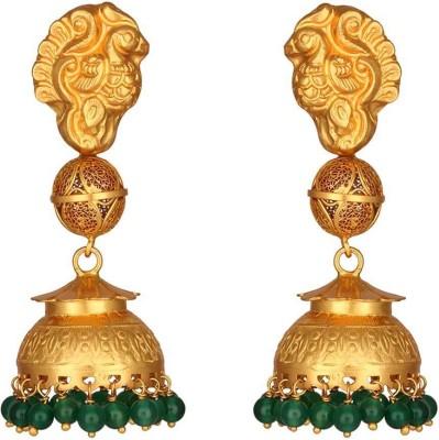 Mirror White Green Onyx Nagas Jhumki Silver Jhumki Earring at flipkart