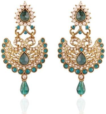 I Jewels Peacock Shaped Meenakari Alloy Chandbali Earring