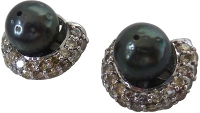 Surat Diamond Pearl Sterling Silver Stud Earring at flipkart