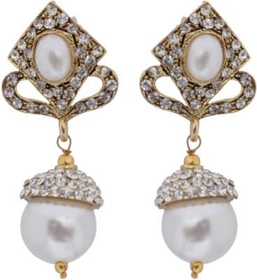 Hyderabadi Abhushan Diamond Cubic Zirconia, Pearl Alloy Drops   Danglers Hyderabadi Abhushan Earrings