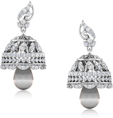 IskiUski Demira White Gold 14kt Swarovski Crystal Jhumki Earring(Platinum Plated) at flipkart