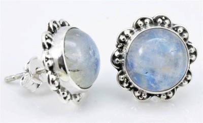 Sharda Elegant SJE-10 Moonstone Sterling Silver Stud Earring