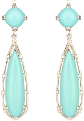 Mirror White Sparkling turquoise Party Drops Silver Drop Earring at flipkart