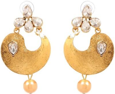 GoldNera 18K Goldplated Kundan Textured Alloy Drops   Danglers GoldNera Earrings