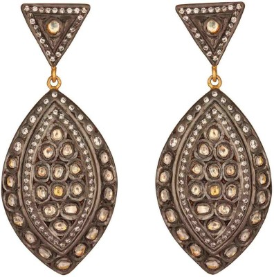 Mirror White Dotted Sparkle Sterling Silver Drops & Danglers at flipkart