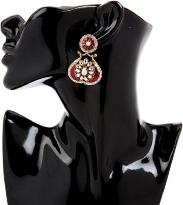 GoldNera Traditional Kundan Alloy Drops   Danglers GoldNera Earrings