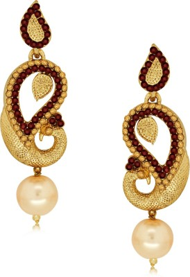 Spargz Designer Peacock Earring with Pearl Drop Alloy Drop Earring