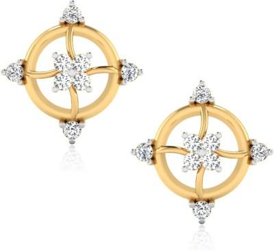 IskiUski Melange Yellow Gold 14kt Swarovski Crystal Stud Earring