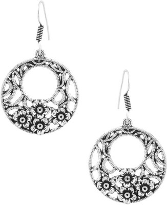 Gemshop Pair Of Beautiful Round Flower Theme With Oxidized Tone Alloy Dangle Earring