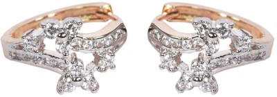 Trinetra Gold Plated with sparkling CZ Stones Yellow Gold Huggie Earring at flipkart