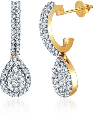 KaratCraft White Gold, Yellow Gold 18kt Drop Earring at flipkart