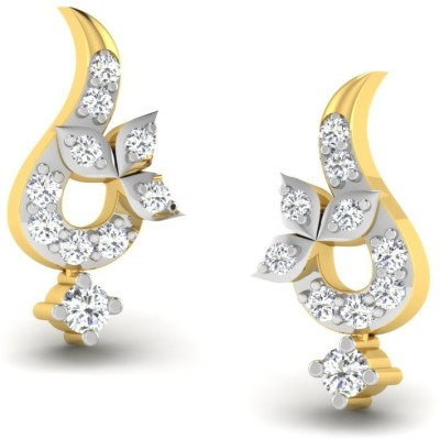 His & Her HHT9755 Yellow Gold 18kt Diamond Stud Earring(Yellow Gold Plated) at flipkart