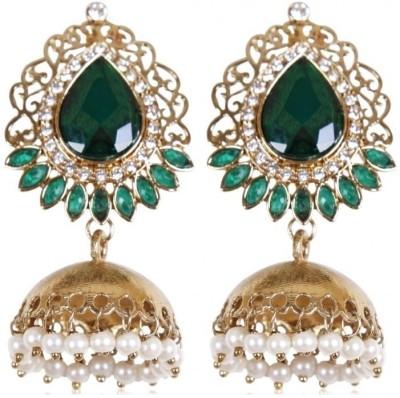 Rajwada Arts Stylish Modern Emerald Brass Jhumki Earring at flipkart