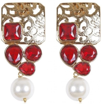 Rajwada Arts Fancy with Red stone and Pearl Brass Drops & Danglers at flipkart