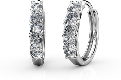 Yellow Chimes White Crystal Hoop Metal Hoop Earring at flipkart