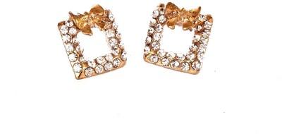 Kundaan Cute Bow Style Square Shape Crystal Alloy Stud Earring at flipkart