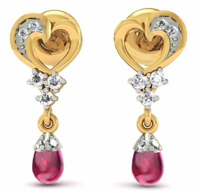 Rasav Jewels EARRING 1441DFM Yellow Gold 18kt Diamond, Ruby Drop Earring at flipkart