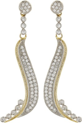 Fashion Frill Long American Diamond Studded Alloy Drop Earring at flipkart