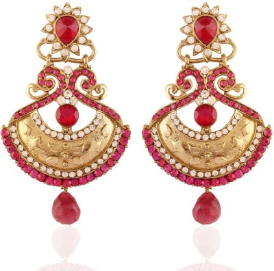 I Jewels Traditional Peacock Shaped Pearl Alloy Chandbali Earring