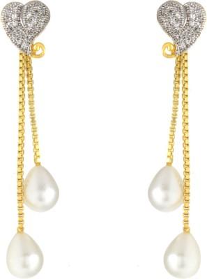 Alysa Heart Cubic Zirconia, Pearl, Ruby Brass, Copper Drop Earring