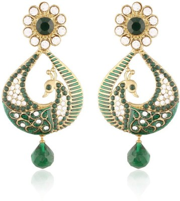 I Jewels Traditional Gold Plated Peacock Shaped Meenakari Alloy Chandbali Earring