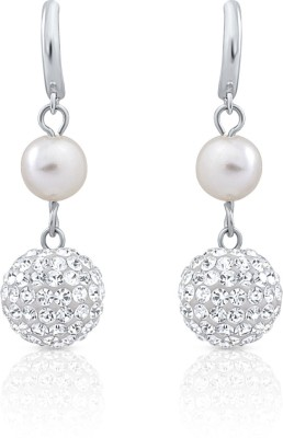Oviya Crystal, Pearl Alloy, Brass Drop Earring at flipkart