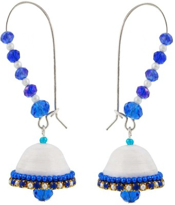 Halowishes Royal Blue and White Hancrafted Kidney Hook Jhumka Paper Hoop Earring  available at flipkart for Rs.279