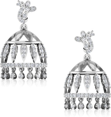 IskiUski Siliyona White Gold 14kt Swarovski Crystal Jhumki Earring(Platinum Plated) at flipkart