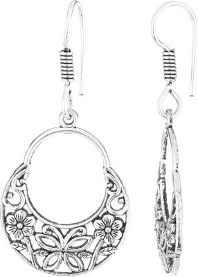 Gemshop Beautiful Danglers With Oxidized Flower Alloy Dangle Earring