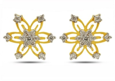 P.N.Gadgil Jewellers Sparkling Blossom Yellow Gold 18kt Diamond Stud Earring(Yellow Gold Plated) at flipkart