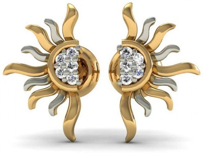Rasav Jewels Sparkle Yellow Gold 18kt Diamond Stud Earring at flipkart