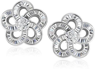 IskiUski Carnation Earrings White Gold 14kt Swarovski Crystal Stud Earring