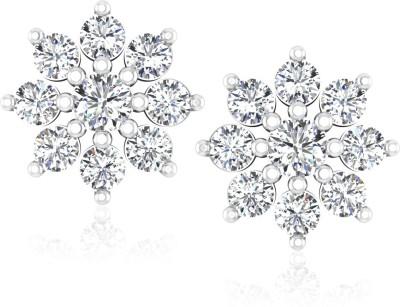 IskiUski White Gold 14kt Swarovski Crystal Stud Earring