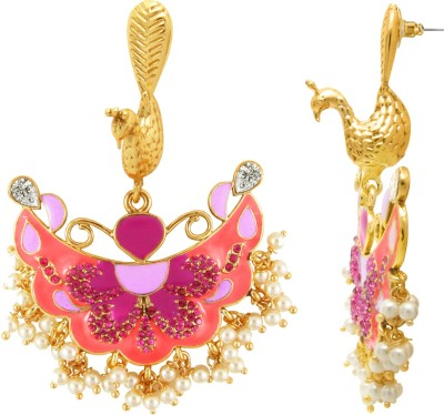 Luxor Traditonal Peacock Yellow Gold Plated Diamond Alloy Chandelier Earring