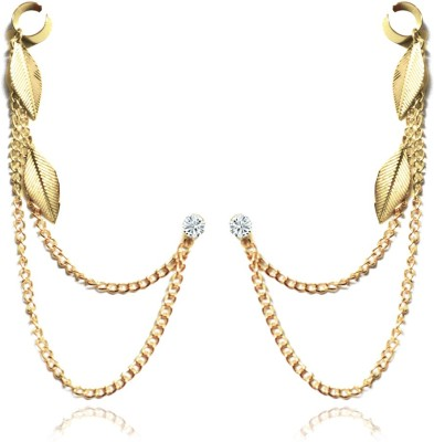 Via Mazzini Golden Spring Leaves Pair Crystal Metal Cuff Earring at flipkart
