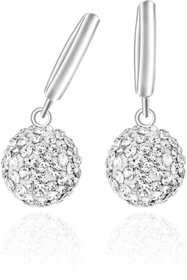 Mahi Sterling Balls Rhodium Bali Swarovski Crystal Alloy Drop Earring at flipkart