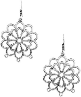 Gemshop PAIR OF BEAUTIFUL FLOWER DESIGN ON OXIDIZED PLATING Alloy Dangle Earring