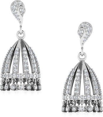 IskiUski Kriti White Gold 14kt Swarovski Crystal Jhumki Earring(Platinum Plated) at flipkart