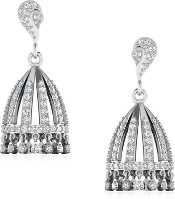 IskiUski Kriti White Gold 14kt Swarovski Crystal Jhumki Earring(Platinum Plated) at flipkart