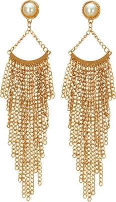 Amour Pearl Tassel Long Golden Big Alloy Drop Earring at flipkart