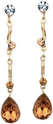 WearYourFashion Brown Water Droplets Swarovski Crystal Alloy Tassel Earring WearYourFashion Earrings