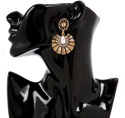 GoldNera Texture 18K Goldplated Kundan Alloy Drops   Danglers GoldNera Earrings