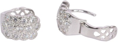 Trinetra Silver Plated with sparkling CZ Stones German Silver Huggie Earring at flipkart