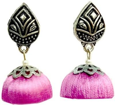 TrendyTrendy TrendyTrendy Silver oxidised Lavender Jhumka Plastic Jhumki Earring  available at flipkart for Rs.198