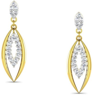 Avsar Kajal Yellow Gold 18kt Swarovski Crystal Stud Earring at flipkart