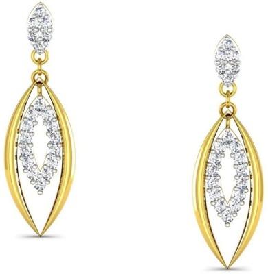 Avsar Kajal Yellow Gold 18kt Swarovski Crystal Stud Earring at flipkart