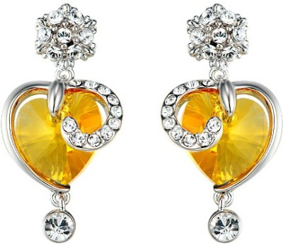 Yellow Chimes Crystal Hearts Swarovski Crystal Alloy Drop Earring at flipkart